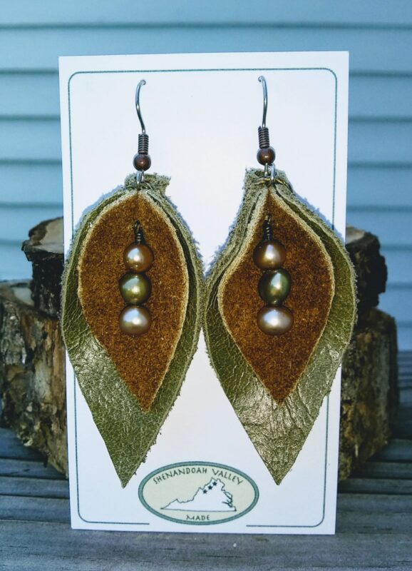 Leather Drop Earrings with Stones Shenandoah Valley Made
