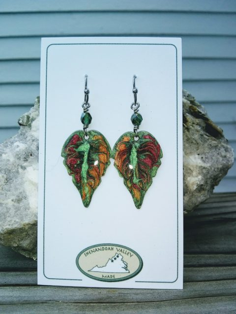 Hand Painted Metal Leaf Earrings by Shenandoah Valley Made
