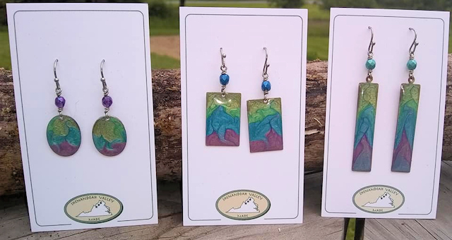 enamel painted earrings from Shenandoah Valley Made