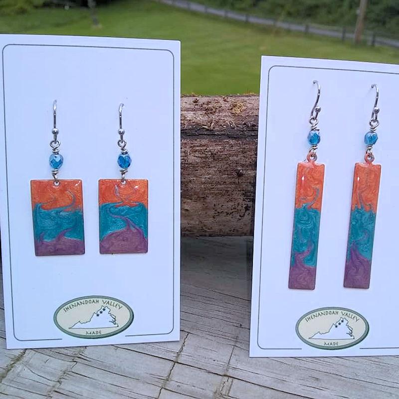 Rainbow/Chakra Small Oval Earrings by Shenandoah Valley Made