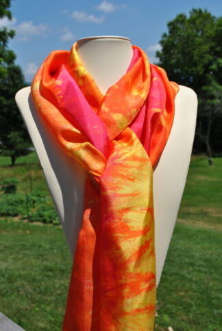 Warm Rainbow Hand Dyed Silk Scarf made by Shenandoah Valley Made