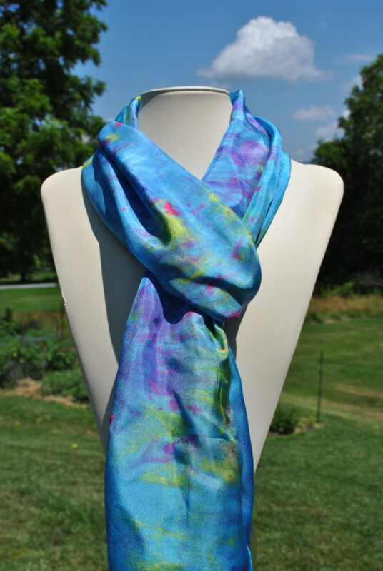 Turquoise and Blue Hand Dyed Silk Scarf made by Shenandoah Valley Made
