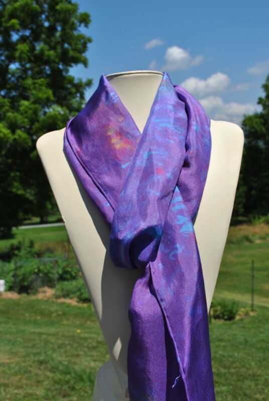 Purple Impressionist Inspired Hand Dyed Silk Scarf by Shenandoah Valley Made