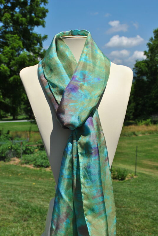 Teal, Turquoise and Copper Impressionist-Inspired Hand Dyed by Shenandoah Valley Made Silk Scarf