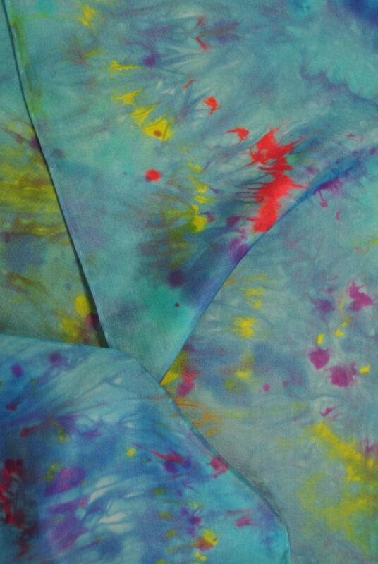 Turquoise Impressionist Scarf Close up