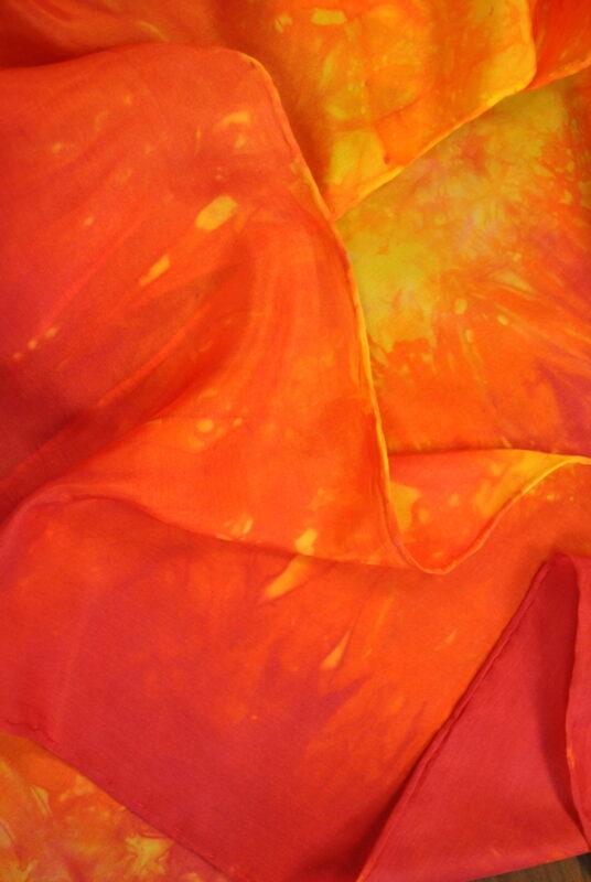 Warm Rainbow Silk Scarf Close up