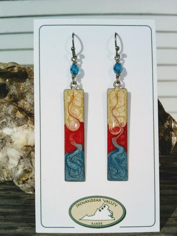 Patriotic long rectangle earrings by Shenandoah Valley Made