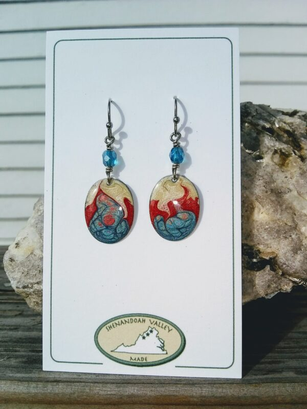 Patriotic small oval earring by Shenandoah Valley Made