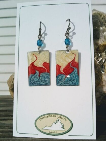 Patriotic small rectangle earring by Shenandoah Valley Made