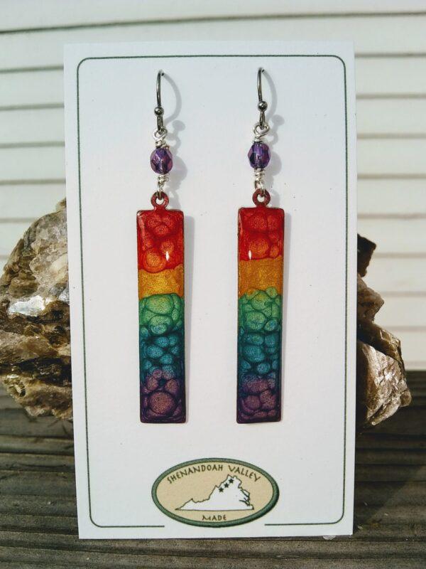 Rainbow Chakra long rectangle earrings by Shenandoah Valley Made