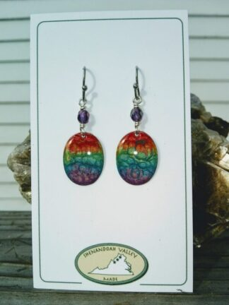 Rainbow Chakra small oval earrings by Shenandoah Valley Made
