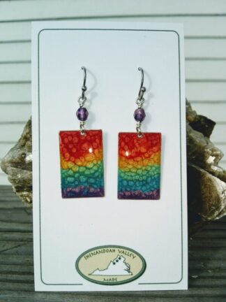 Rainbow Chakra small rectangle earrings by Shenandoah Valley Made