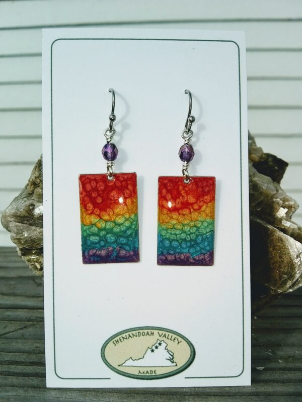 Rainbow Chakra small rectangle earrings by Shenandoah Valley Made