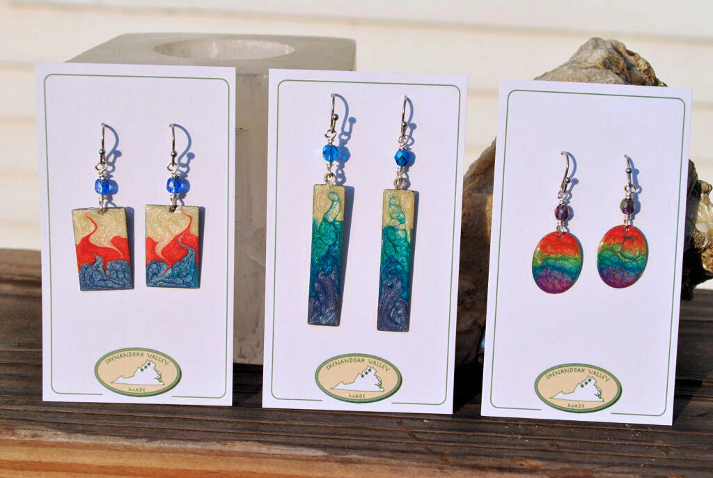 hand painted earrings by Shenandoah Valley Made